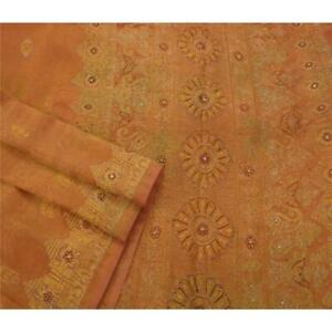 Tcw Vintage Saree Tissue Hand Beaded Craft Golden Fabric Premium 5 Yd Sari