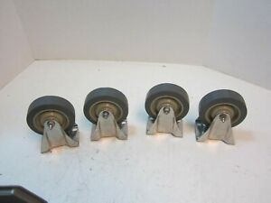 4 Wagner Thermoplastic Rubber 4 X 1 1 4 Wheel Rigid Plate Caster New