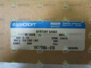 Ashcroft Sanitary Gauge 0 600psi 35 1032s 15l 600 New In Box