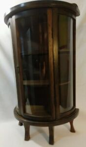 Antique Curved Glass Footed Wood Curio Display Case Cabinet Table Top Antique
