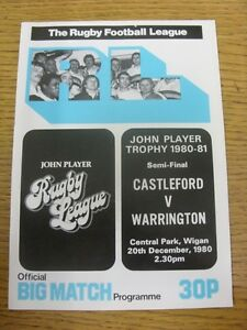 20 12 1980 Rugby League Programme: John Player Competition Semi Final Castlefor GBP 2.99
