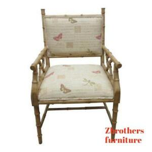 Vintage Faux Bamboo Regency Carved Living Room Fireside Lounge Arm Club Chair