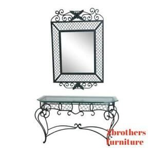 Ethan Allen Accessories Wrought Iron Glass Top Mirror Console Server Sideboard