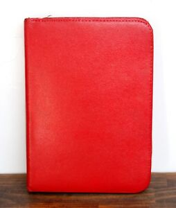 8 x10 5 Vintage Red Pebbled Split Leather Zip Notes Id Card Organizer Planner