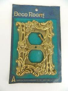 Nos Vintage American Tack Hardware Antique Brass Deco Room Outlet Plate Cover