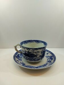 Vintage Blue And White Japanese Village Tea Cup And Saucer