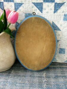 Early Antique Oval Wood Bread Cutting Board French Blue Milk Paint