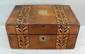 Antique Inlaid Marquetry Wood Jewelry Box Casket Small Chest Brass Shield 1800s
