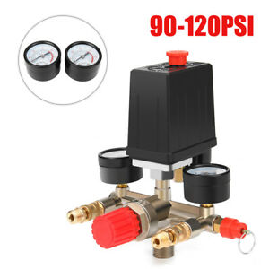 Air Compressor Pressure Switch Control Valve Manifold Regulator Gauges 90 120psi