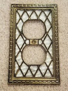 Vintage American Amer Tack Pearl Antique Brass Single Gang Outlet Plate
