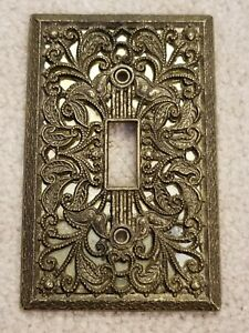 Vintage American Amer Tack Antique Brass Single Toggle Light Switch Plate