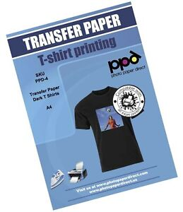 Ppd Inkjet Iron on Dark T Shirt Transfers Paper Ltr 8 5x11 Pack Of 10 Sheets