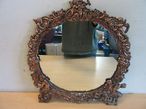 Antique Victorian Fancy Cast Metal Wall Mirror With Angels Cherubs