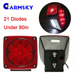 2x Led Submersible Square Tail Brake Lights Under 80 For Trailer Truck Boat