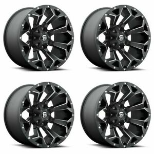 Set 4 18 Fuel Assault D546 Matte Black Milled Wheels 18x9 8x170 01mm Truck Rims