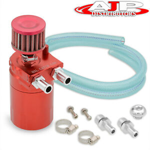 Universal 200ml Red Oil Catch Tank Can Reservoir Dipstick Breather Filter