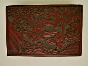 Antique Chinese Red Cinnabar Lacquer Carved Box