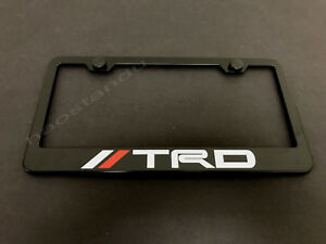 1x Trdstyle Black Stainless Metal License Plate Frame Screw Caps Wred