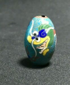 Antique Japanese Cloisonne Bead Dragon Big Blue Ojime Sagemono Inro Netsuke
