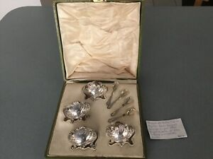 1893 Louis Coignet French Sterling Silver Set Salt Spices Bowls With Spoons
