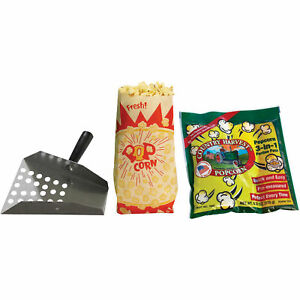 Country Harvest 4 oz Popcorn Machine Starter Kit Stainless Steel Scoop Tri Pack