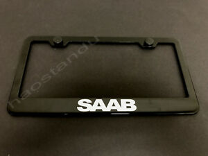 1x Saab Black Stainless Metal License Plate Frame Screw Caps