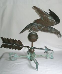 Eagle Weathervane Flying Wings Spread Copper Patina Green N S E W Arrow Antique