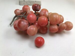 Antique Vintage Italy Alabaster Marble Stone Fruit Realistic Pink Grape Cluster