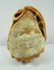 Antique Vintage Carved Cameo Helmet Conch Shell Lamp Shade Naples Scene