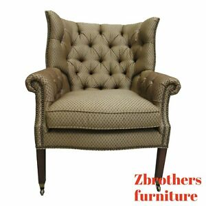 Henredon Chesterfield Style Wing Back Living Room Lounge Chair B