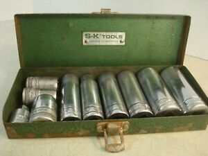 S k Tools 10pc 1 2 Dr 12 Pt Deep Shallow Socket Set 9 16 15 16 W case Used