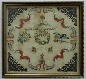 An Antique 19th Century German Needlework Sampler Dated 1846