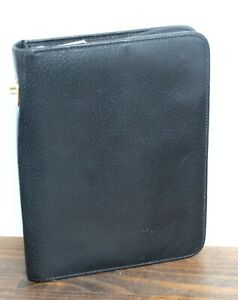 7 x9 Gucci Black Leather Zip Around Card Holder Planner Portfolio Organizer