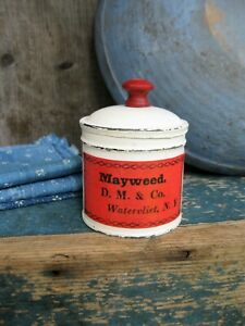 Antique Pantry Tin Red And White Paint Shaker Mayweed Label Free Shipping