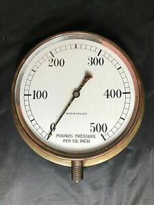 Antique 500 Lb brass Pressure Gauge Vintage Steampunk
