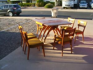 Vintage Mcm Heywood Wakefield Dining Table And 6 Chairs