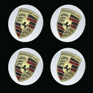 Set Of 4 Porsche Rim Hub Center Caps With Gold Emblem Crest Wheel