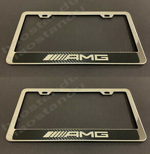 2pcxamgstyle Stainless Steel License Plate Frame Holder Carbon Fiber Style