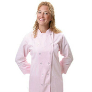 Pink Chef Jacket Medium 12 Button Front Female Fitted Pastel Uniform Coat New
