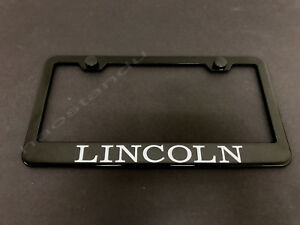 1x Lincoln Black Stainless Metal License Plate Frame Screw Caps