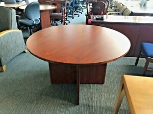 Round Conference Table In Cherry Color Laminate 48 d