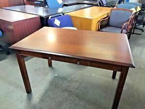 48 w X 30 d X 29 1 2 h Traditional Writing Table Desk In Cherry Finish Wood