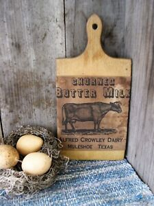 Small Antique Wood Bread Cutting Board Buttermilk Sleeve