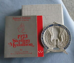 Wallace Sterling Silver 1973 Medallion Christmas Ornament Doves 1 1 Oz