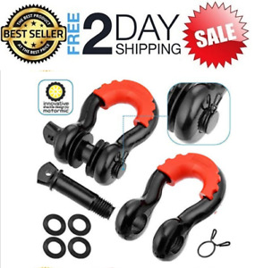 2x D Ring 3 4 Shackle W 7 8 Pin Tow Recovery Heavy Duty Black Isolator Offroad