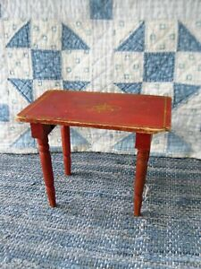 Early Antique Wood Doll Table Original Red Paint Free Shipping
