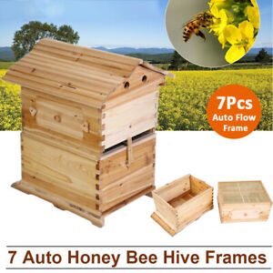 Wooden Beekeeping Beehive Brood House Box For 7x Auto Flow Honey Hive Frames