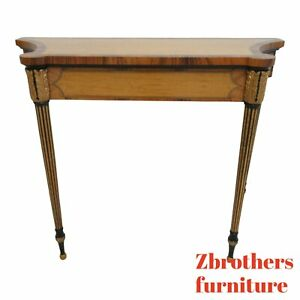 Custom Italian Regency Demi Lune Banded Console Sofa Table Server