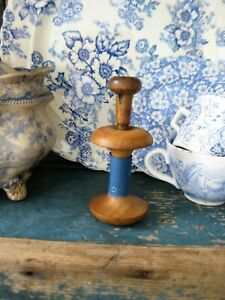 Antique Shaker Apple Core Wood Spool Awl W 1890s Blue Calico Free Shipping