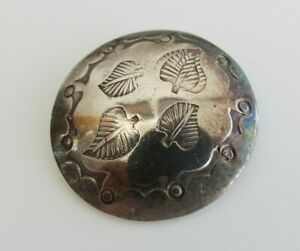 Vintage Navajo Four Leaves Leaf Hand Stamped Sterling Silver 1 Inch Button